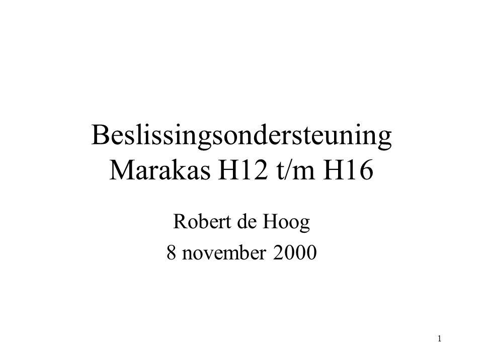 1 Beslissingsondersteuning Marakas H12 t/m H16 Robert de Hoog 8 november 2000