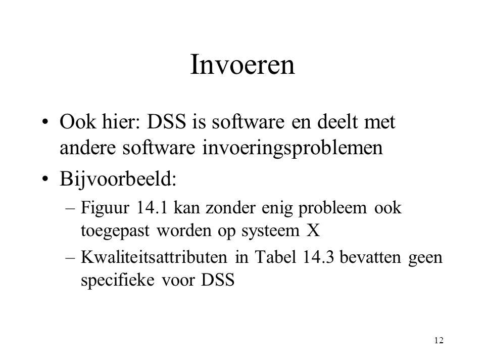 12 Invoeren Ook hier: DSS is software en deelt met andere software invoeringsproblemen Bijvoorbeeld: –Figuur 14.1 kan zonder enig probleem ook toegepast worden op systeem X –Kwaliteitsattributen in Tabel 14.3 bevatten geen specifieke voor DSS