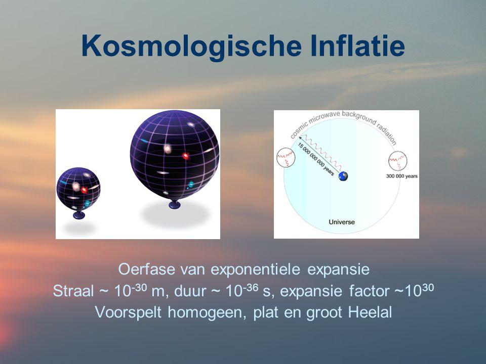 Kosmologische Inflatie Oerfase van exponentiele expansie Straal ~ 10 -30 m, duur ~ 10 -36 s, expansie factor ~10 30 Voorspelt homogeen, plat en groot