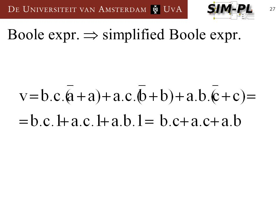 27 Boole expr.  simplified Boole expr.