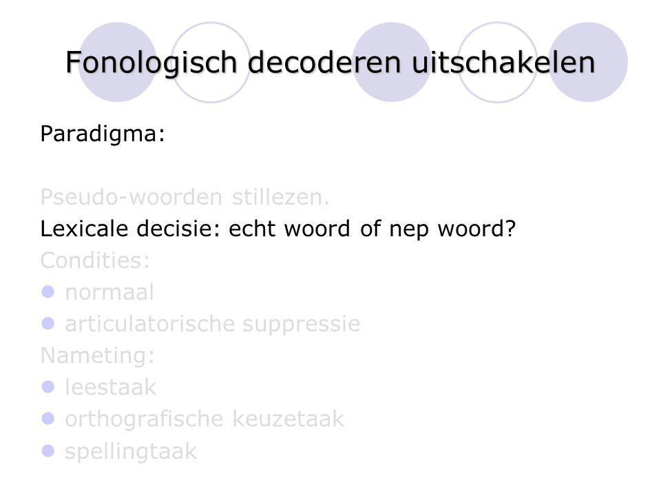 Fonologisch decoderen uitschakelen Paradigma: Pseudo-woorden stillezen. Lexicale decisie: echt woord of nep woord? Condities: normaal articulatorische