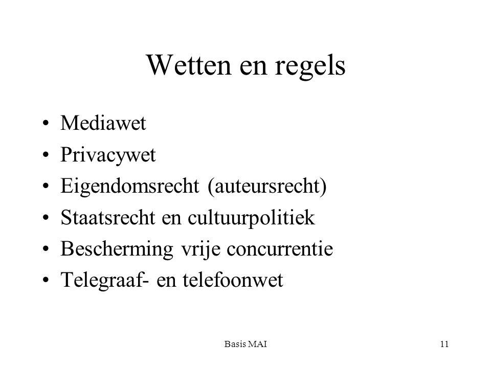 Basis MAI11 Wetten en regels Mediawet Privacywet Eigendomsrecht (auteursrecht) Staatsrecht en cultuurpolitiek Bescherming vrije concurrentie Telegraaf