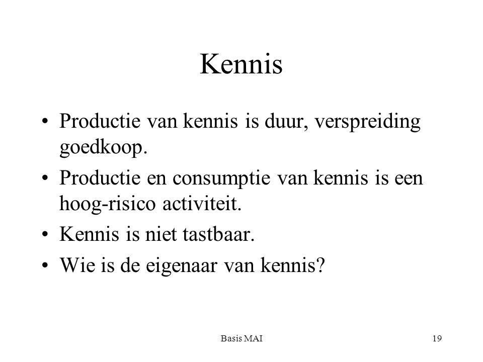 Basis MAI19 Kennis Productie van kennis is duur, verspreiding goedkoop. Productie en consumptie van kennis is een hoog-risico activiteit. Kennis is ni