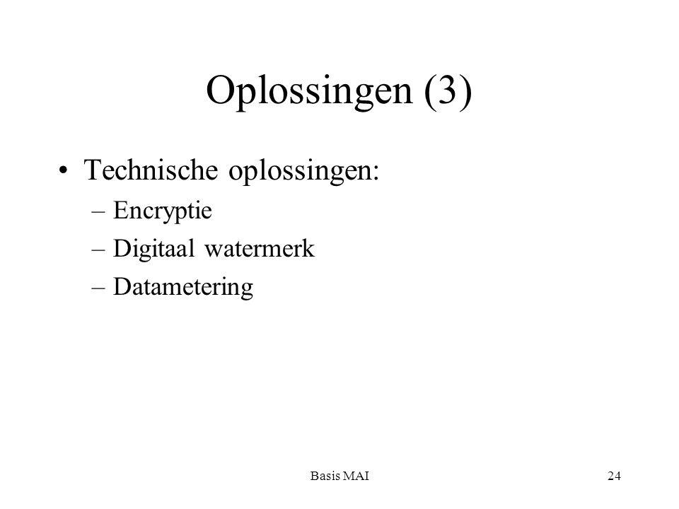 Basis MAI24 Oplossingen (3) Technische oplossingen: –Encryptie –Digitaal watermerk –Datametering