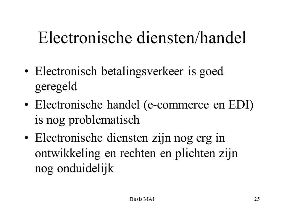 Basis MAI25 Electronische diensten/handel Electronisch betalingsverkeer is goed geregeld Electronische handel (e-commerce en EDI) is nog problematisch
