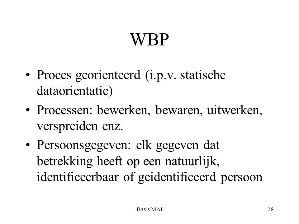 Basis MAI28 WBP Proces georienteerd (i.p.v. statische dataorientatie) Processen: bewerken, bewaren, uitwerken, verspreiden enz. Persoonsgegeven: elk g