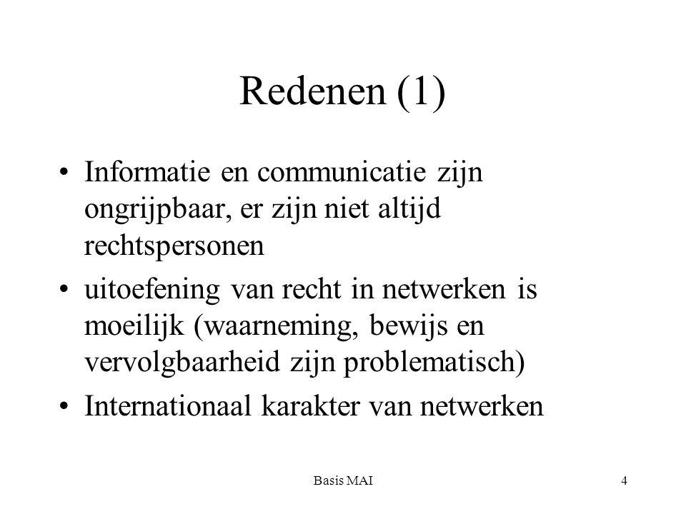 Basis MAI4 Redenen (1) Informatie en communicatie zijn ongrijpbaar, er zijn niet altijd rechtspersonen uitoefening van recht in netwerken is moeilijk