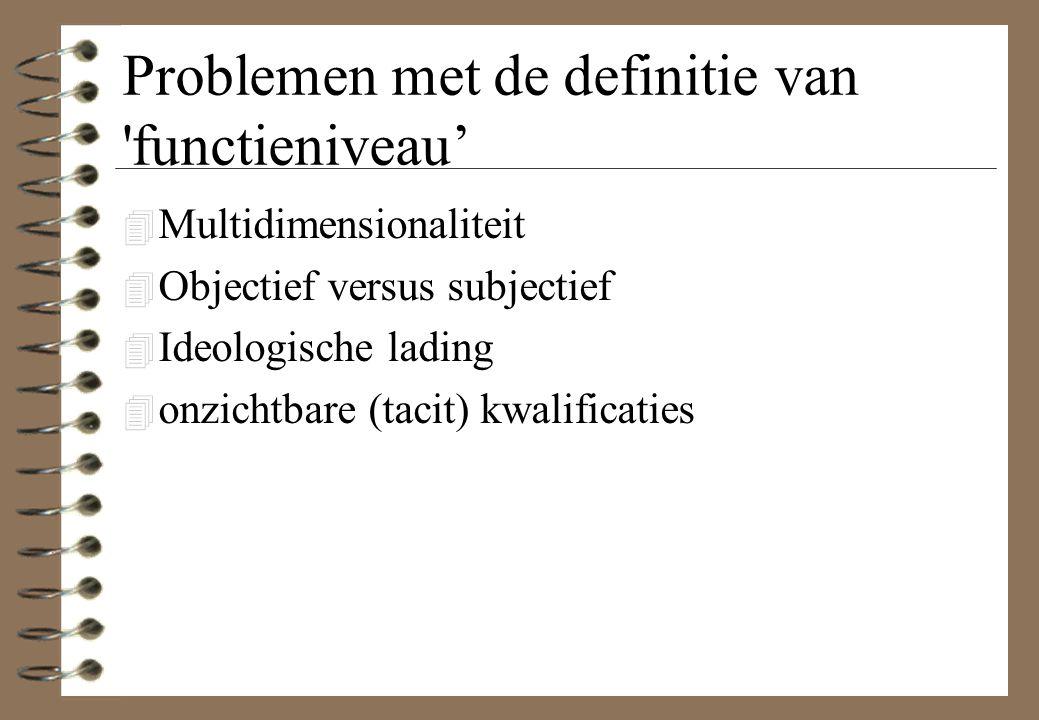Problemen met de definitie van functieniveau' 4 Multidimensionaliteit 4 Objectief versus subjectief 4 Ideologische lading 4 onzichtbare (tacit) kwalificaties
