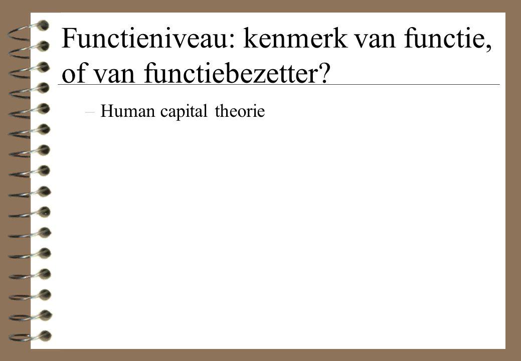 Functieniveau: kenmerk van functie, of van functiebezetter? –Human capital theorie