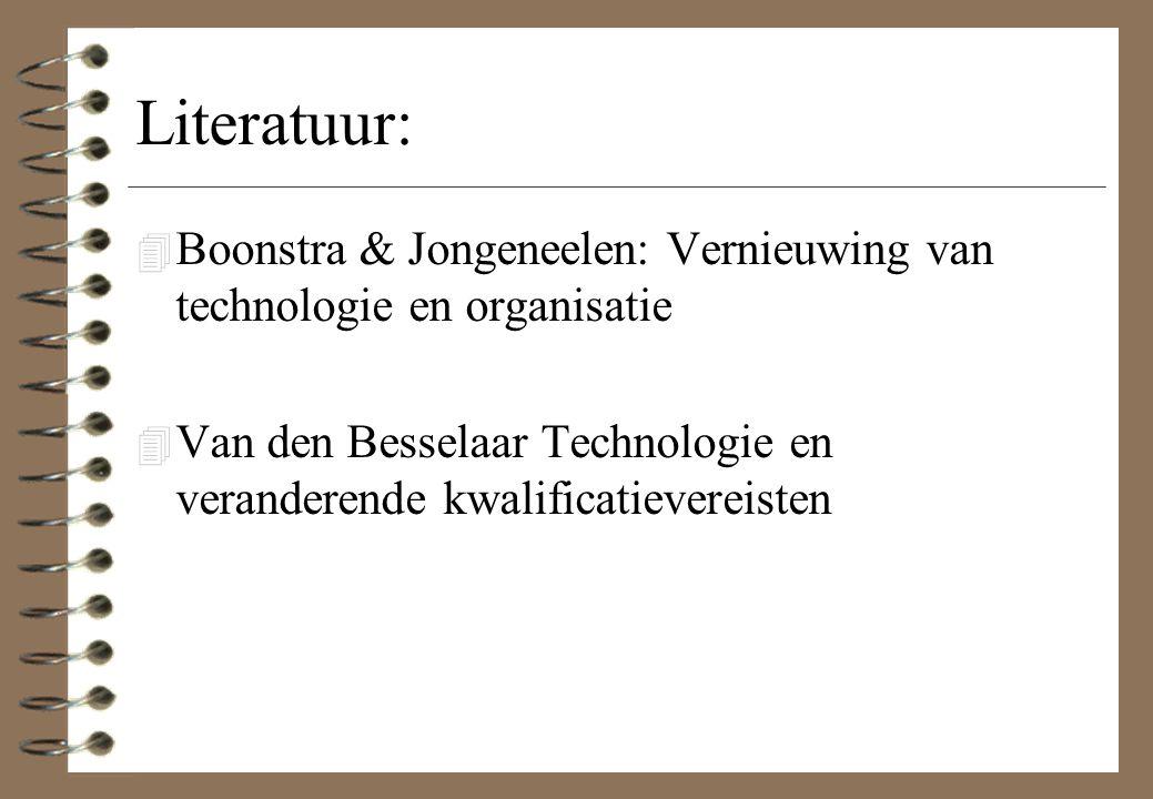 Literatuur: 4 Boonstra & Jongeneelen: Vernieuwing van technologie en organisatie 4 Van den Besselaar Technologie en veranderende kwalificatievereisten