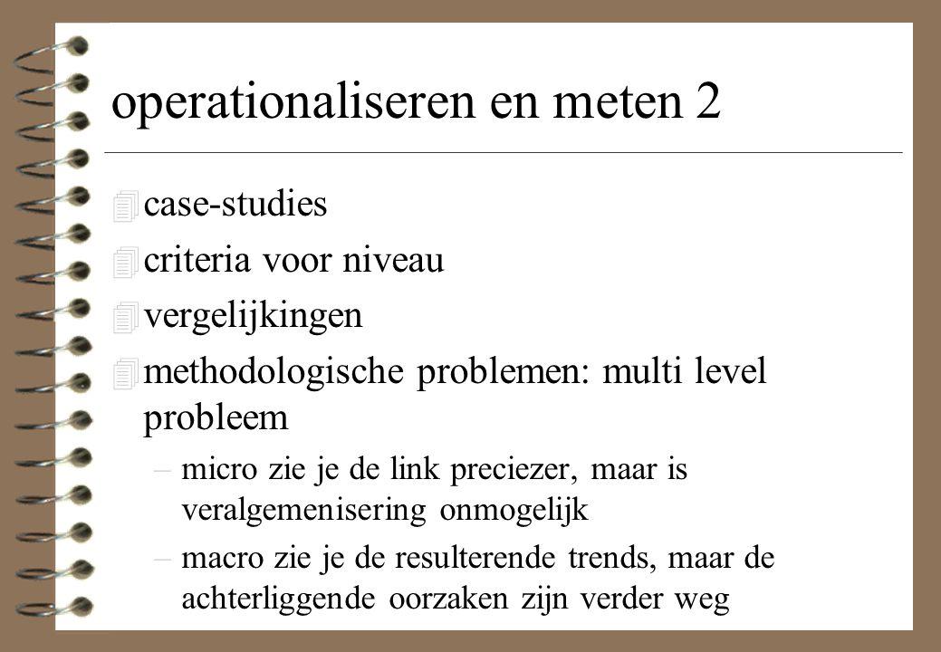 operationaliseren en meten 2 4 case-studies 4 criteria voor niveau 4 vergelijkingen 4 methodologische problemen: multi level probleem –micro zie je de link preciezer, maar is veralgemenisering onmogelijk –macro zie je de resulterende trends, maar de achterliggende oorzaken zijn verder weg