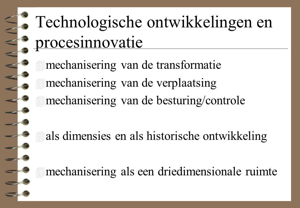 Technologische ontwikkelingen en procesinnovatie 4 mechanisering van de transformatie 4 mechanisering van de verplaatsing 4 mechanisering van de besturing/controle 4 als dimensies en als historische ontwikkeling 4 mechanisering als een driedimensionale ruimte