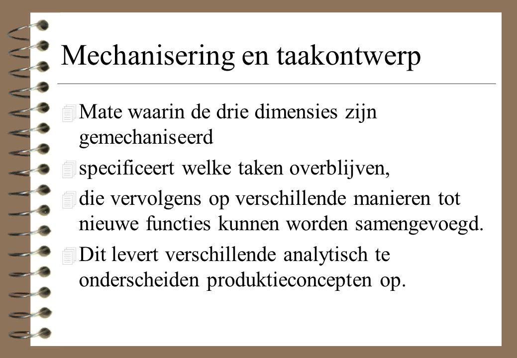 Mechanisering en taakontwerp 4 Mate waarin de drie dimensies zijn gemechaniseerd 4 specificeert welke taken overblijven, 4 die vervolgens op verschill
