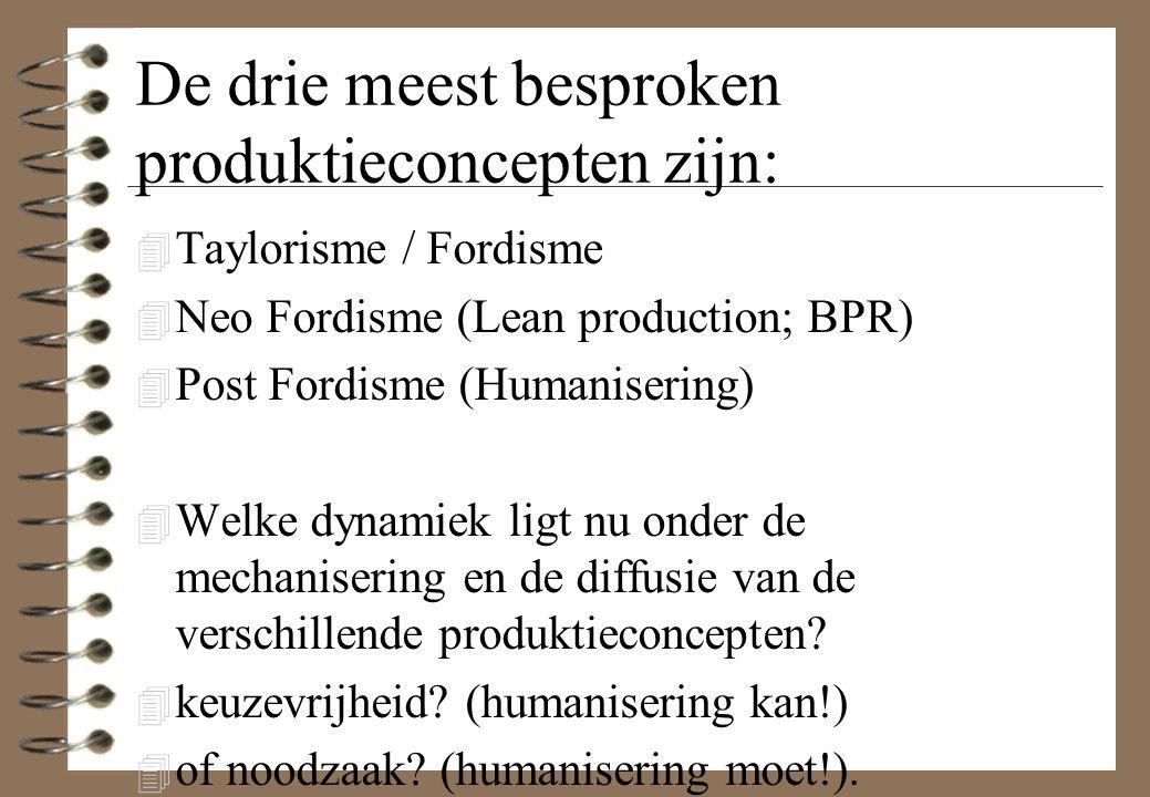 De drie meest besproken produktieconcepten zijn: 4 Taylorisme / Fordisme 4 Neo Fordisme (Lean production; BPR) 4 Post Fordisme (Humanisering) 4 Welke dynamiek ligt nu onder de mechanisering en de diffusie van de verschillende produktieconcepten.