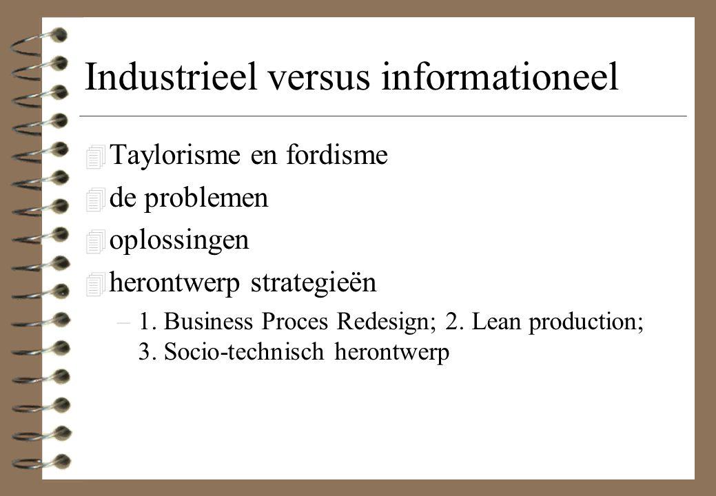 Industrieel versus informationeel 4 Taylorisme en fordisme 4 de problemen 4 oplossingen 4 herontwerp strategieën –1.