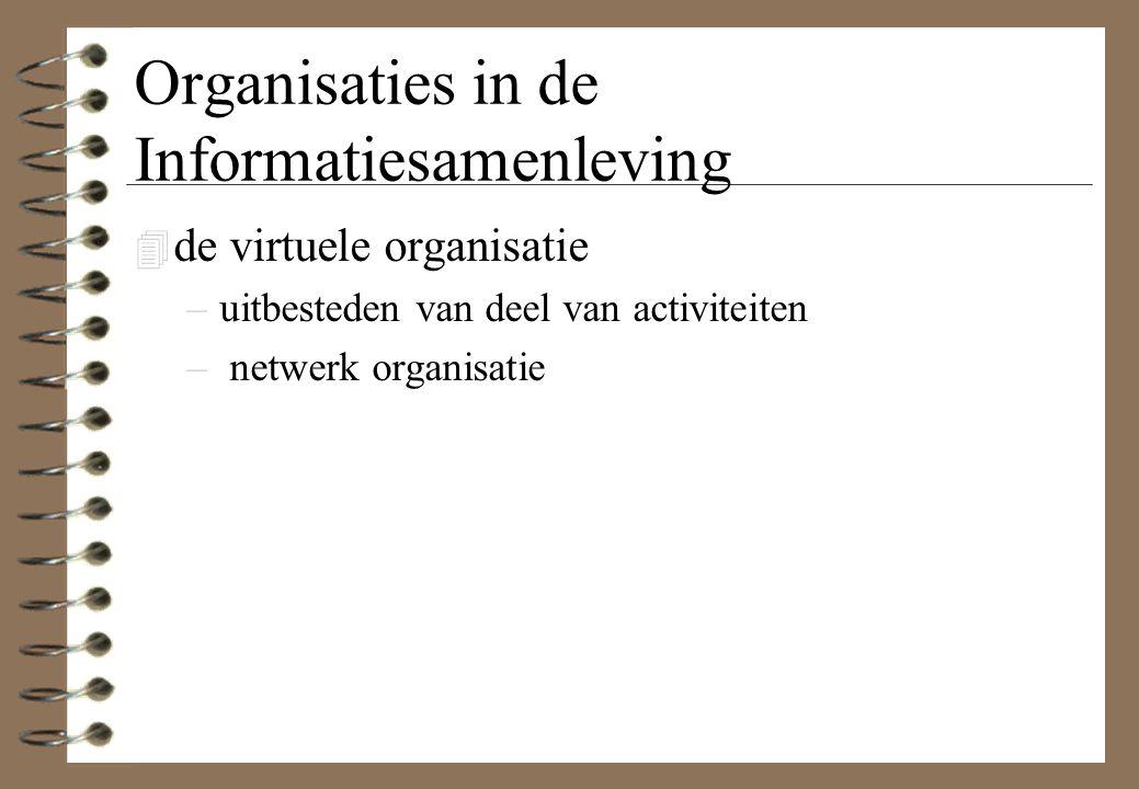 Organisaties in de Informatiesamenleving 4 de virtuele organisatie –uitbesteden van deel van activiteiten – netwerk organisatie