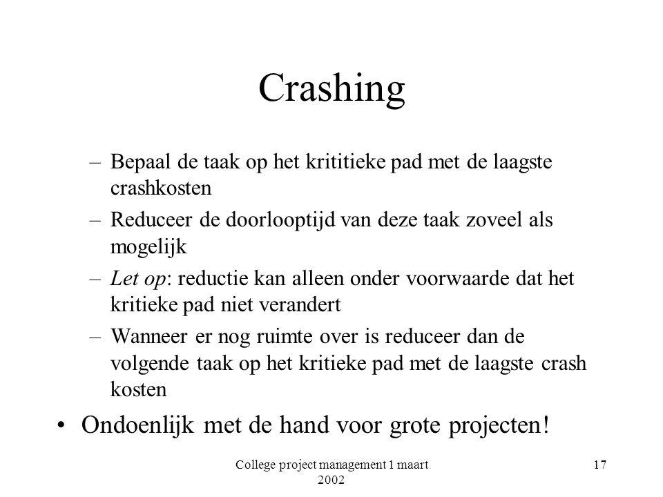 College project management 1 maart 2002 17 Crashing –Bepaal de taak op het krititieke pad met de laagste crashkosten –Reduceer de doorlooptijd van dez