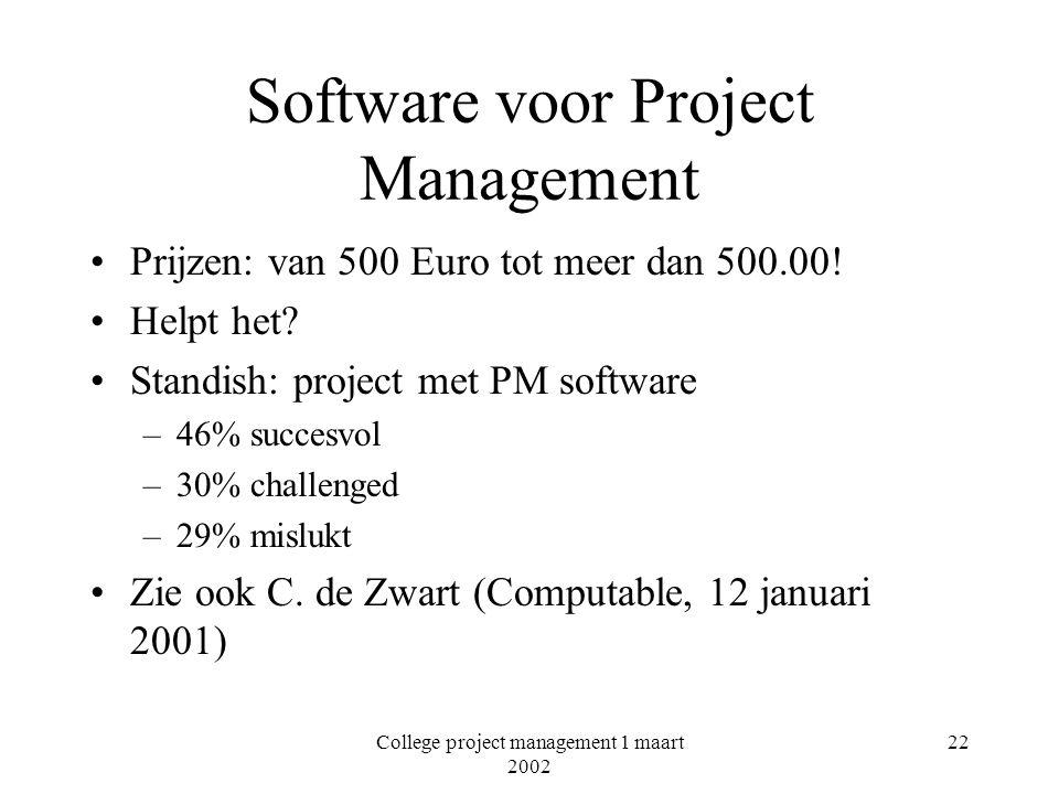 College project management 1 maart 2002 22 Software voor Project Management Prijzen: van 500 Euro tot meer dan 500.00! Helpt het? Standish: project me