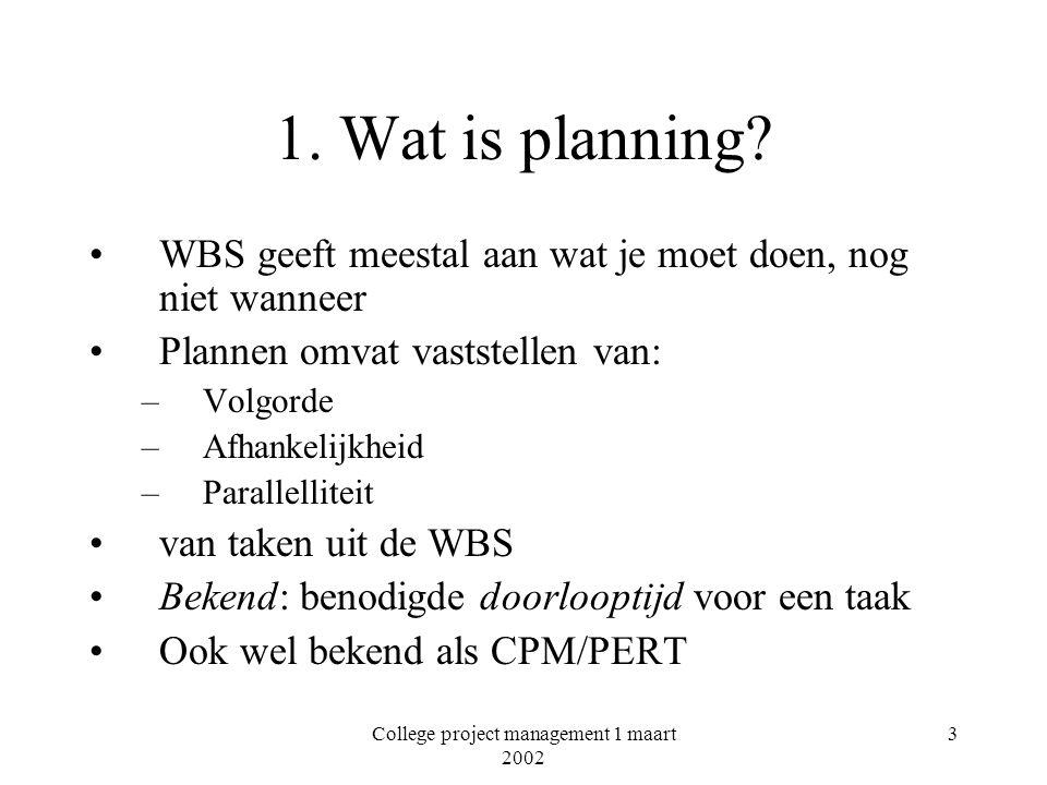 College project management 1 maart 2002 4 Wat is planning.