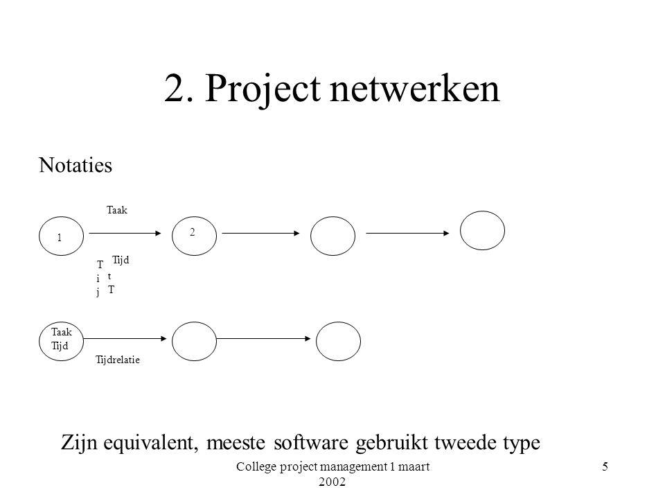 College project management 1 maart 2002 6 Project netwerken Kunnen zeer complex zijn Meestal maak je niet het netwerk maar een Gantt-chart Software leidt het netwerk daaruit af Software helpt niet bij het bepalen van volgorde, afhankelijkheid en parallelliteit!