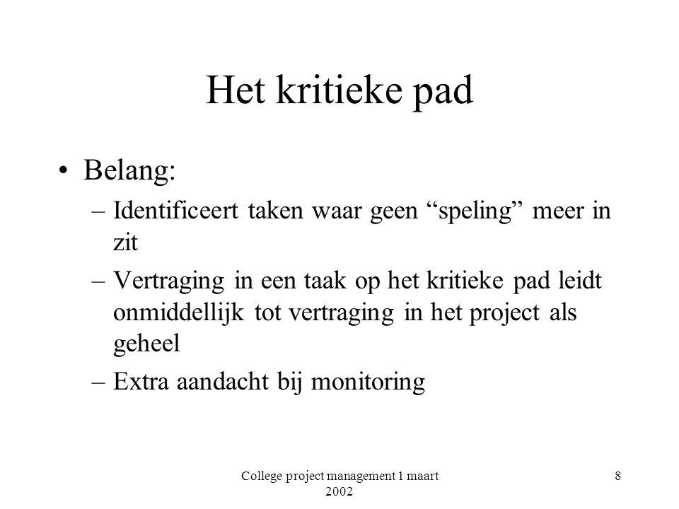 College project management 1 maart 2002 19 7.En nog meer…..