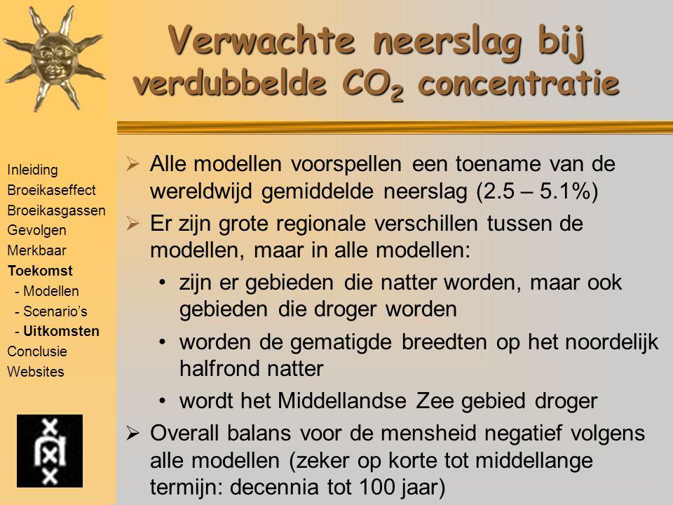 Inleiding Broeikaseffect Broeikasgassen Gevolgen Merkbaar Toekomst - Modellen - Scenario's - Uitkomsten Conclusie Websites Verwachte neerslag bij verd