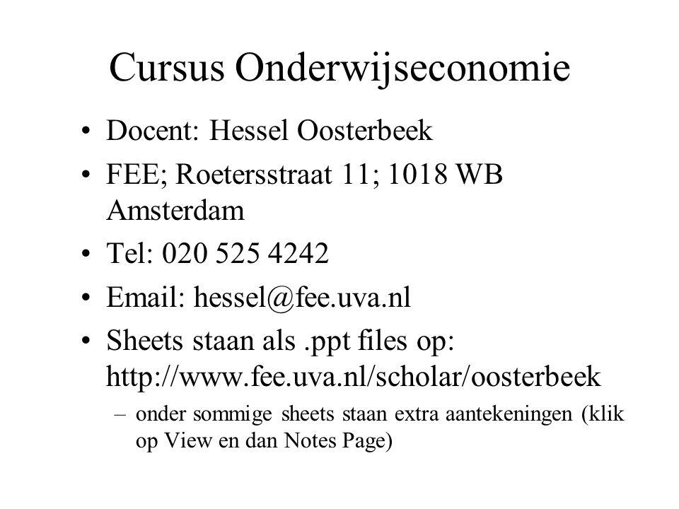 Docent: Hessel Oosterbeek FEE; Roetersstraat 11; 1018 WB Amsterdam Tel: 020 525 4242 Email: hessel@fee.uva.nl Sheets staan als.ppt files op: http://ww