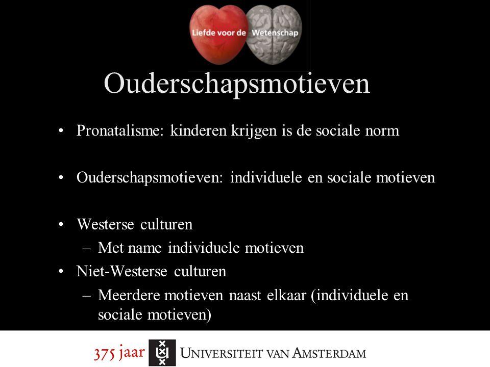 Pronatalisme: kinderen krijgen is de sociale norm Ouderschapsmotieven: individuele en sociale motieven Westerse culturen –Met name individuele motieve