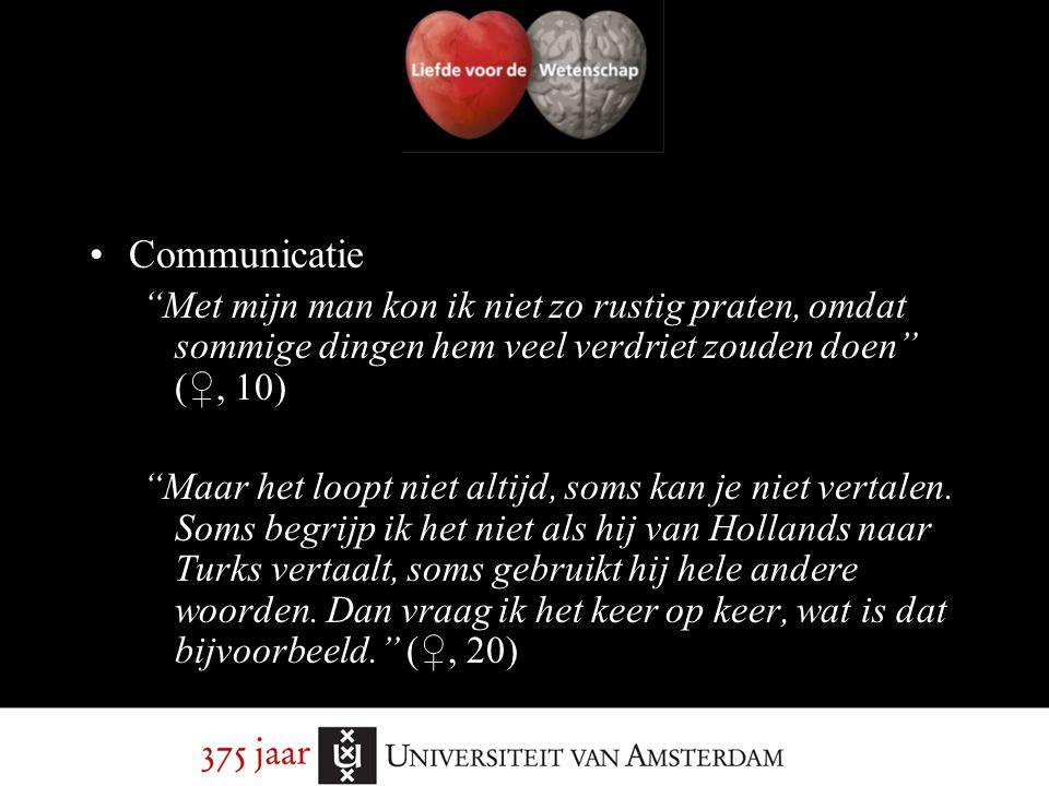 """Communicatie """"Met mijn man kon ik niet zo rustig praten, omdat sommige dingen hem veel verdriet zouden doen"""" (♀, 10) """"Maar het loopt niet altijd, soms"""
