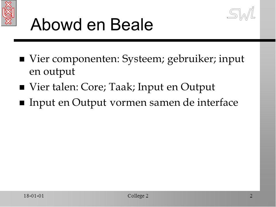 18-01-01College 22 Abowd en Beale n Vier componenten: Systeem; gebruiker; input en output n Vier talen: Core; Taak; Input en Output n Input en Output