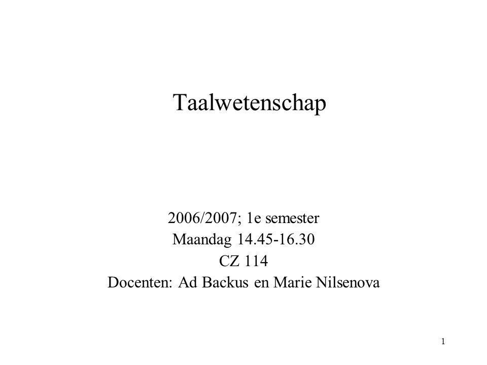 1 Taalwetenschap 2006/2007; 1e semester Maandag 14.45-16.30 CZ 114 Docenten: Ad Backus en Marie Nilsenova