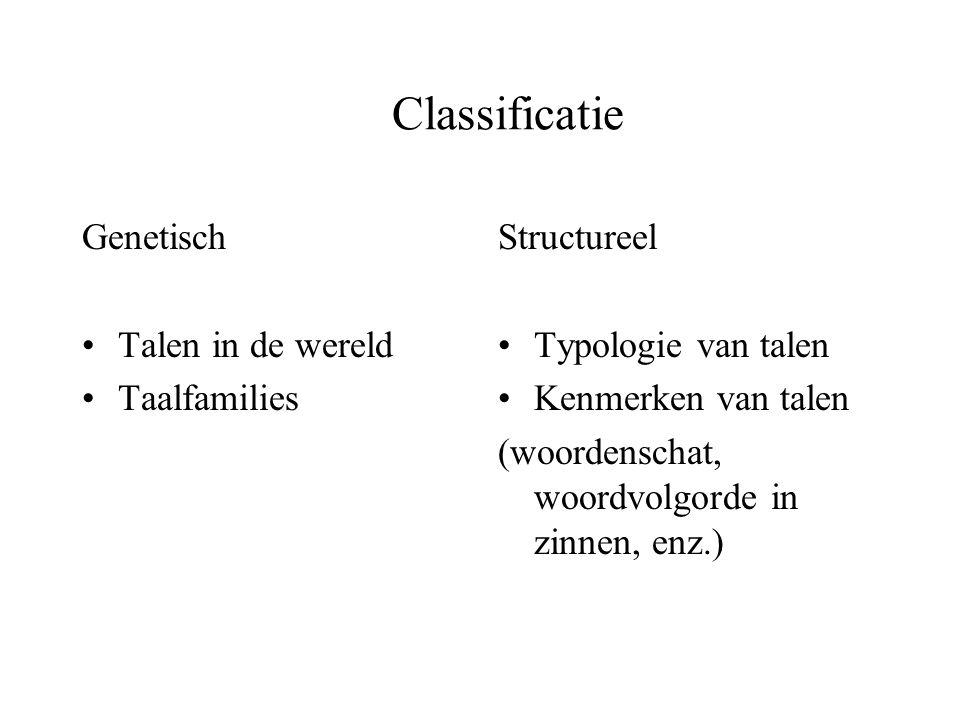 Classificatie Genetisch Talen in de wereld Taalfamilies Structureel Typologie van talen Kenmerken van talen (woordenschat, woordvolgorde in zinnen, en