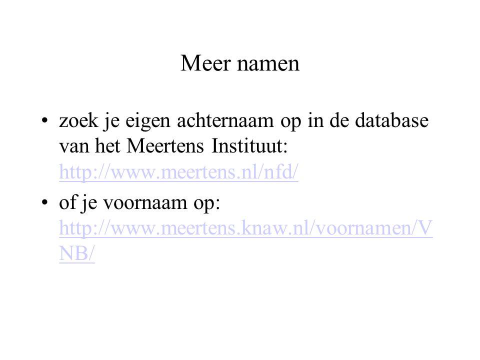 Meer namen zoek je eigen achternaam op in de database van het Meertens Instituut: http://www.meertens.nl/nfd/ http://www.meertens.nl/nfd/ of je voorna