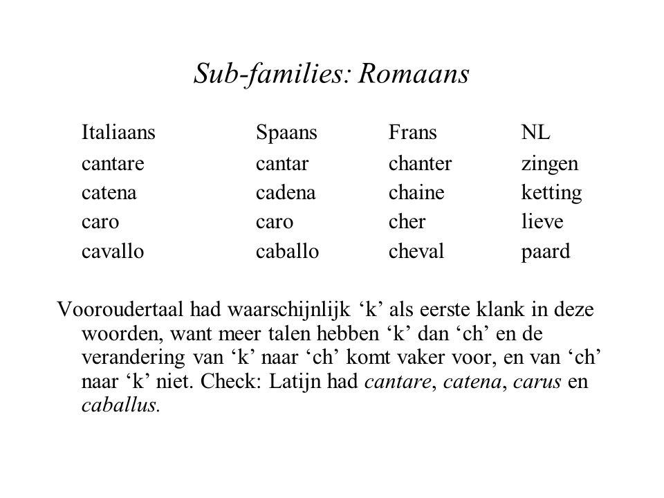 Sub-families: Romaans ItaliaansSpaansFransNL cantarecantarchanterzingen catenacadenachaineketting carocarocherlieve cavallocaballochevalpaard Vooroude