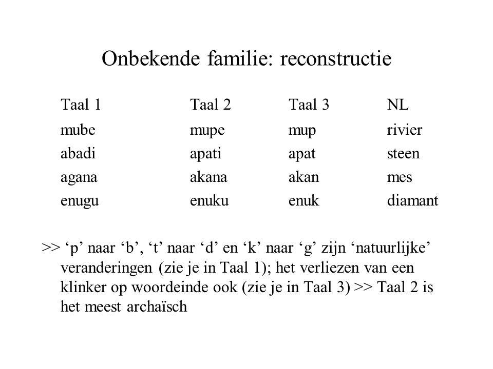 Onbekende familie: reconstructie Taal 1Taal 2Taal 3NL mubemupemuprivier abadiapatiapatsteen aganaakanaakanmes enuguenukuenukdiamant >> 'p' naar 'b', '