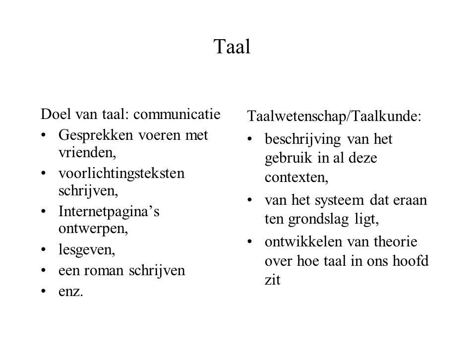 Talen in de wereld Alle talen even complex: Je kunt in elke taal alles onder woorden brengen –De ene taal heeft complexere zinsbouw, de andere complexere klanken, etc.