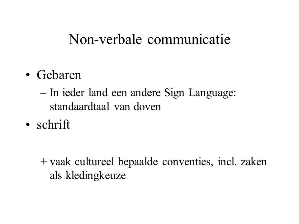 Non-verbale communicatie Gebaren –In ieder land een andere Sign Language: standaardtaal van doven schrift +vaak cultureel bepaalde conventies, incl. z