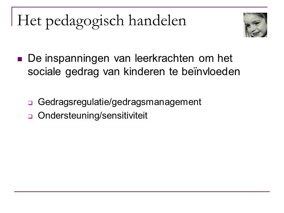 Het pedagogisch handelen De inspanningen van leerkrachten om het sociale gedrag van kinderen te beïnvloeden  Gedragsregulatie/gedragsmanagement  Ond