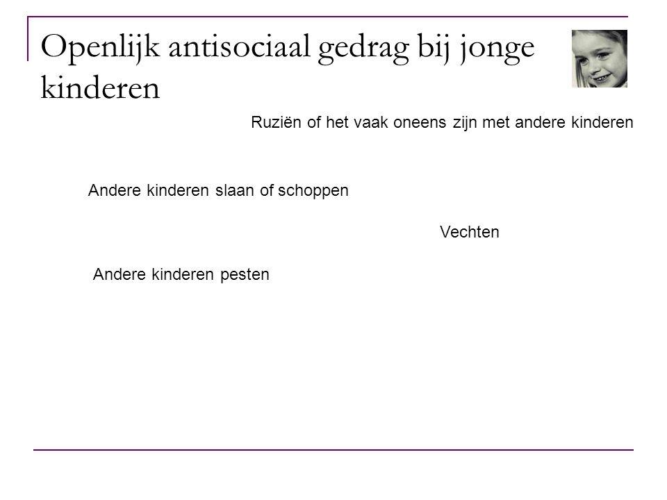In het algemeen… Vergelijkbare samenhang/verbanden met openlijk en heimelijk antisociaal gedrag.