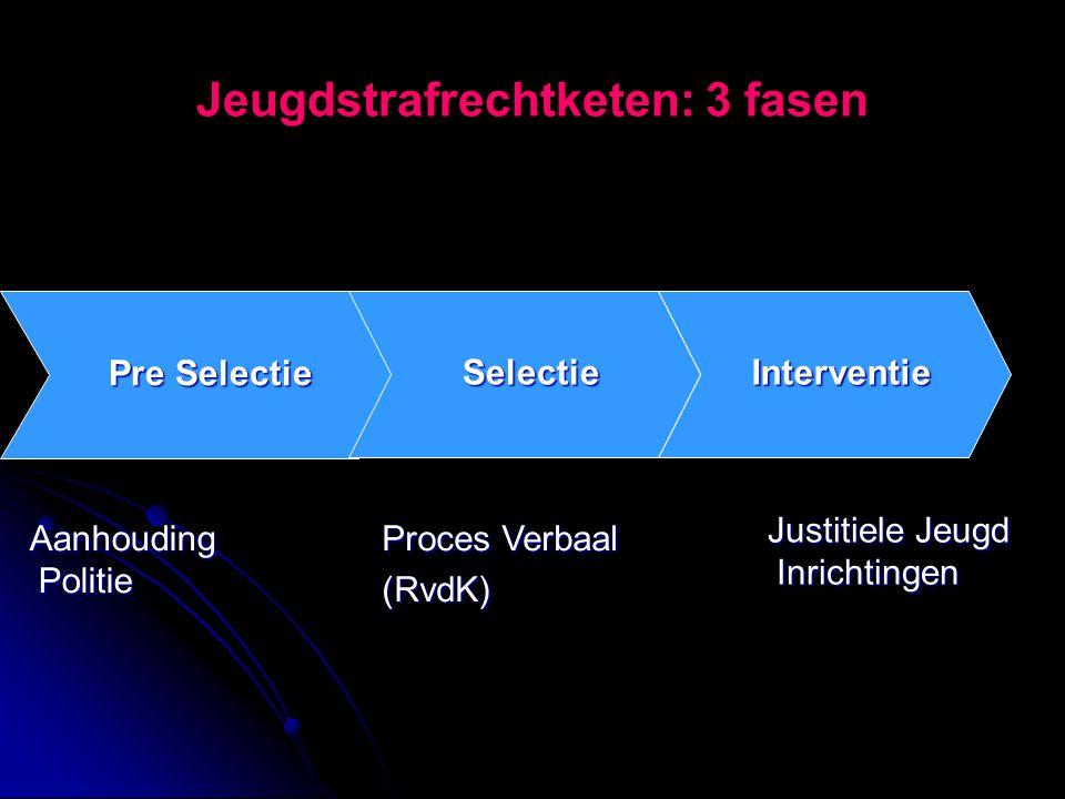 Jeugdstrafrechtketen: 3 fasen Interventie Pre Selectie Selectie Aanhouding Politie Proces Verbaal (RvdK) Justitiele Jeugd Inrichtingen