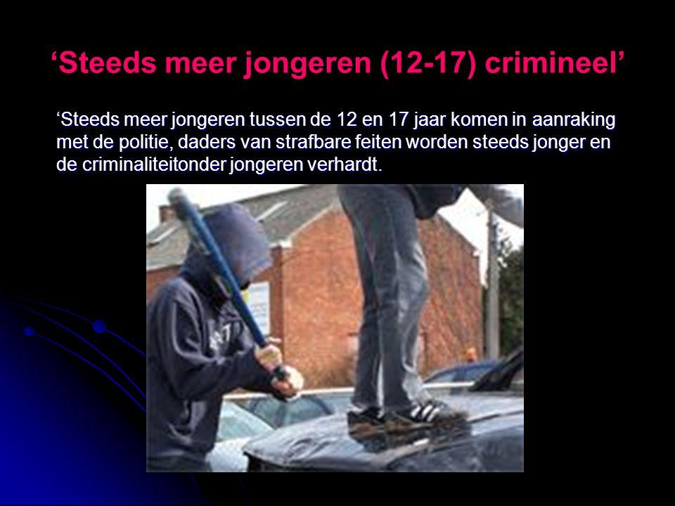 'Steeds meer jongeren (12-17) crimineel' 'Steeds meer jongeren tussen de 12 en 17 jaar komen in aanraking met de politie, daders van strafbare feiten