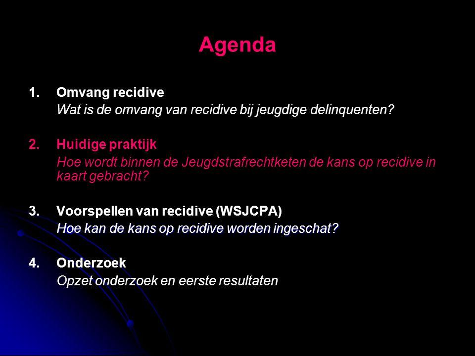 Agenda 1.Omvang recidive Wat is de omvang van recidive bij jeugdige delinquenten? 2.Huidige praktijk Hoe wordt binnen de Jeugdstrafrechtketen de kans