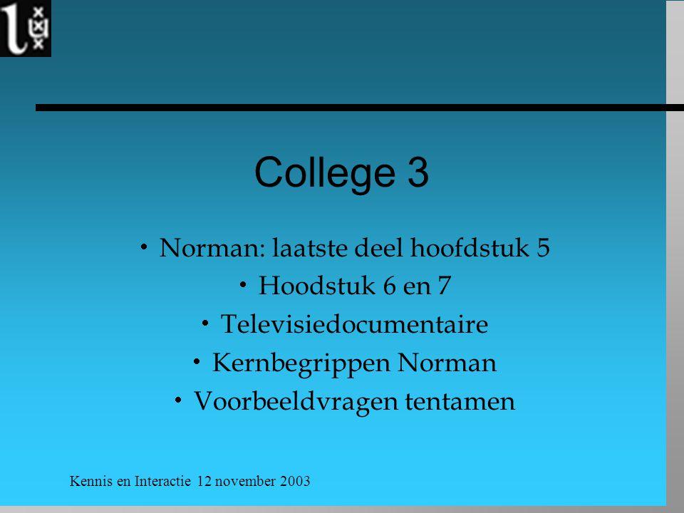 Kennis en Interactie 12 november 2003 College 3  Norman: laatste deel hoofdstuk 5  Hoodstuk 6 en 7  Televisiedocumentaire  Kernbegrippen Norman  Voorbeeldvragen tentamen