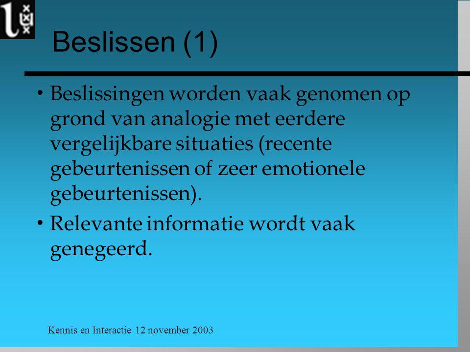Kennis en Interactie 12 november 2003 Beslissen (1)  Beslissingen worden vaak genomen op grond van analogie met eerdere vergelijkbare situaties (rece