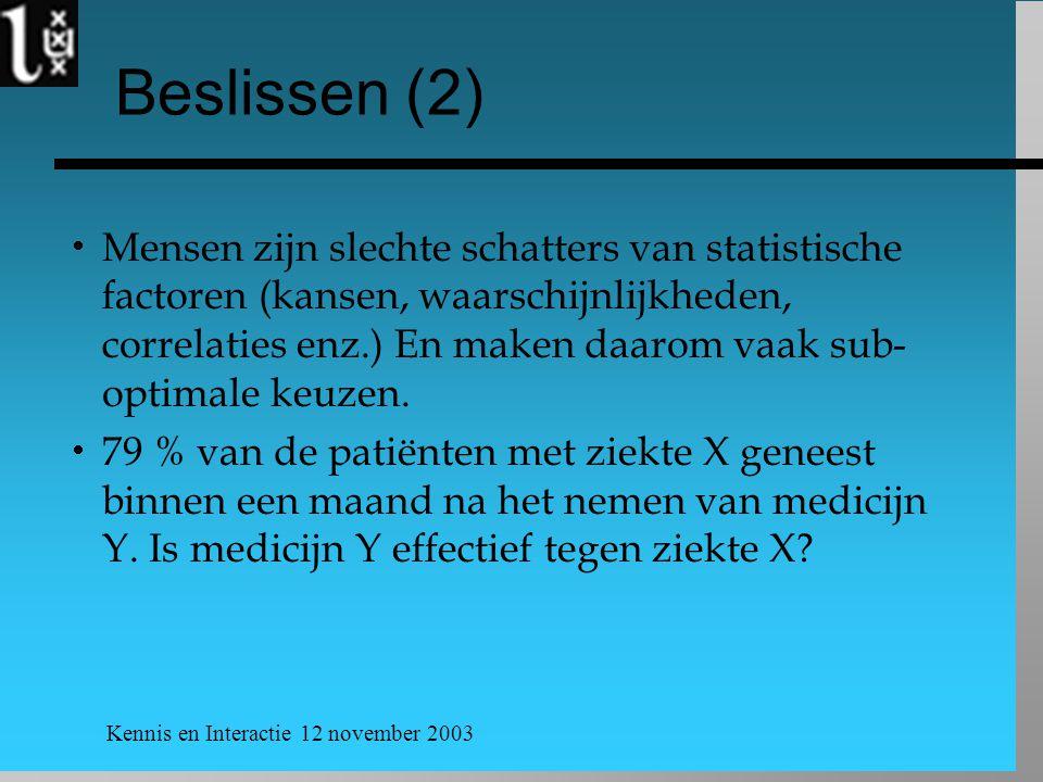 Kennis en Interactie 12 november 2003 Beslissen (2)  Mensen zijn slechte schatters van statistische factoren (kansen, waarschijnlijkheden, correlaties enz.) En maken daarom vaak sub- optimale keuzen.