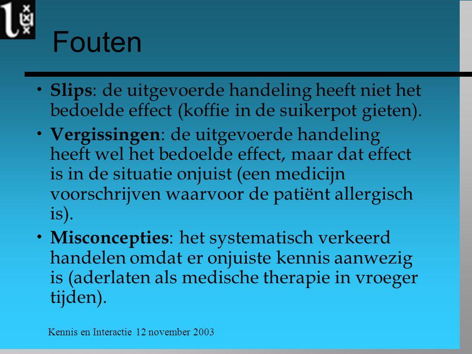 Kennis en Interactie 12 november 2003 Fouten  Slips : de uitgevoerde handeling heeft niet het bedoelde effect (koffie in de suikerpot gieten).  Verg