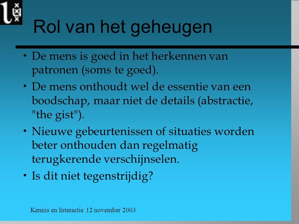 Kennis en Interactie 12 november 2003 Rol van het geheugen  De mens is goed in het herkennen van patronen (soms te goed).