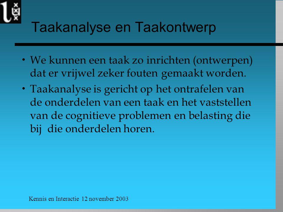 Kennis en Interactie 12 november 2003 Taakanalyse en Taakontwerp  We kunnen een taak zo inrichten (ontwerpen) dat er vrijwel zeker fouten gemaakt wor
