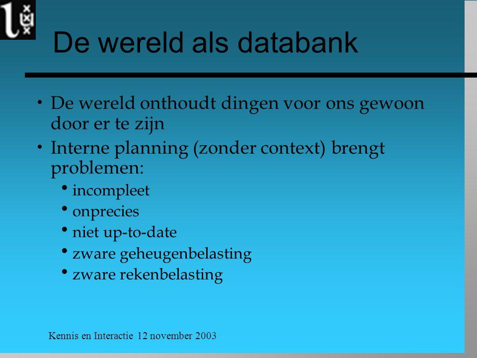 Kennis en Interactie 12 november 2003 De wereld als databank  De wereld onthoudt dingen voor ons gewoon door er te zijn  Interne planning (zonder co
