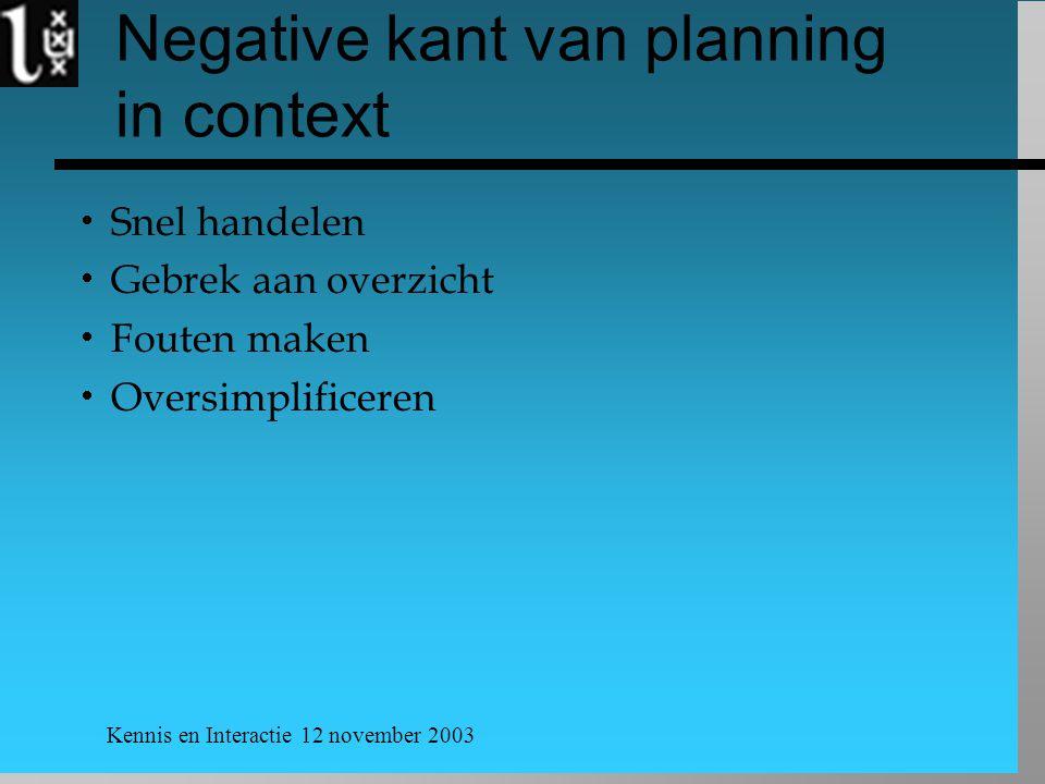 Kennis en Interactie 12 november 2003 Negative kant van planning in context  Snel handelen  Gebrek aan overzicht  Fouten maken  Oversimplificeren